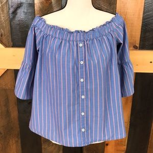 Abercrombie and Fitch off  shoulder chambray top
